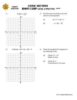 Conic Sections Boot Camp -- Differentiated Practice Assignments