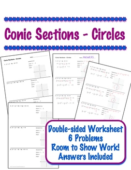conic sections circles worksheet standard form graph by lisa tarman. Black Bedroom Furniture Sets. Home Design Ideas