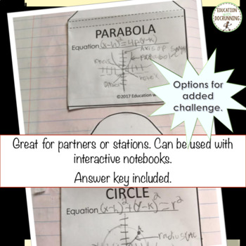 Conic Sections Classification Card Sort Activity for Algebra 2 or PreCalculus