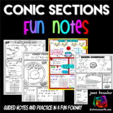 Conic Sections Comic Book Style No Prep FUN Notes Doodle Pages