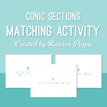 FREE Conic Sections Equation Matching Activity