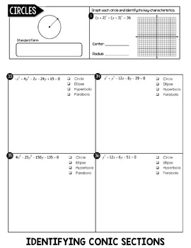 Conic Sections Flip Book (Circles, Ellipses, Hyperbolas, Parabolas)