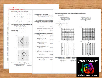 PreCalculus Conic Sections Huge Review Test Study Guide 200 questions
