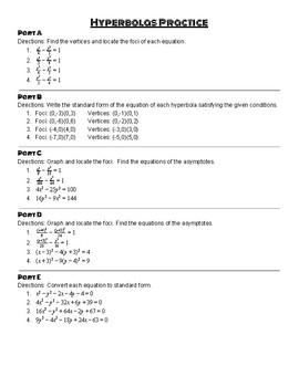 Conic Sections: Hyperbola Practice