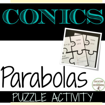 Conic Sections Parabola Puzzle Activity for Algebra 2 or PreCalculus