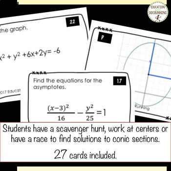 Conic Sections Parabolas, Circles, Ellipses, Hyperbolas Task Card Activity
