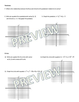 Conic Sections (Parabolas, Ellipses, & Circles) Practice + Answer Key