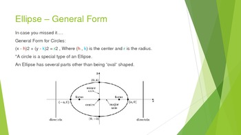 Conic Sections: Properties of Ellipse Equations and Graphs Powerpoint