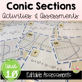 Algebra 2: Conic Sections Review-Quiz-Test Bundle