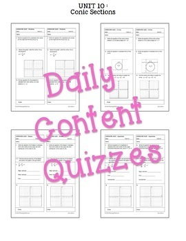 Algebra 2 Conic Sections Review-Quiz-Test Bundle