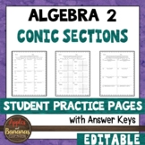 Conic Sections - Student Practice Pages