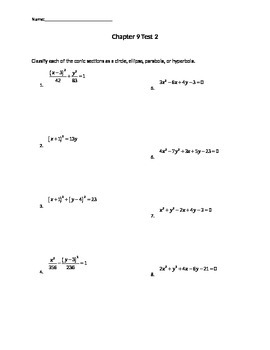 Conic Sections Test