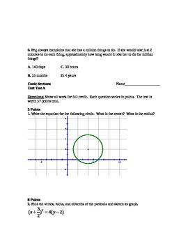 Conic Sections Unit: Test/Quizzes for Parabolas, Circles, Hyperbolas, Ellipses