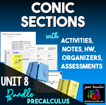 Conic Sections Activity Bundle with Task Cards  Foldables and more