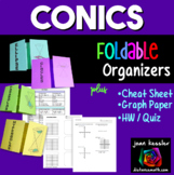 Conic Sections Cheat Sheet Reference Sheet plus Foldables plus Graph Paper