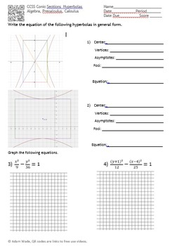 Conics - Hyperbolas: Equations, Graphing, Center, Vertices, Foci, and Asymptotes