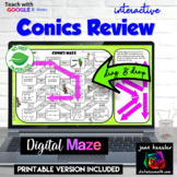 Conic Sections Review Digital Maze with Zombie Theme with GOOGLE Slides™