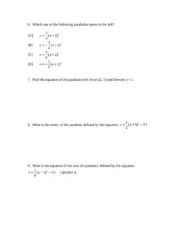 Conics Test, Honors, Algebra 2