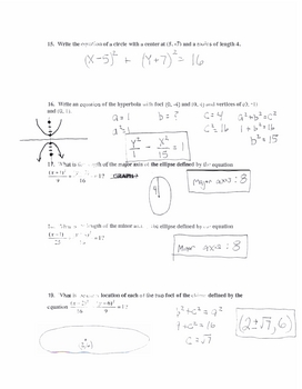 Conics Test,  Honors Version, Algebra 2