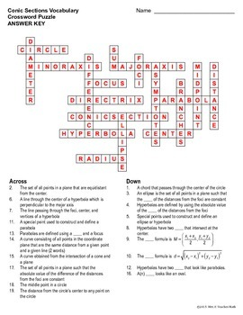 Conics Vocabulary Crossword Puzzle