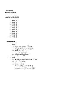 Conics Worksheet