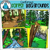 Coniferous Forest Background Scenes Clip Art - Chirp Graphics