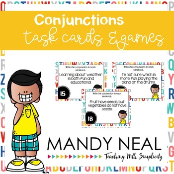 Conjunctions Grammar Task Cards, Games, and Centers
