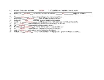 Conjugar verbos en presente #9