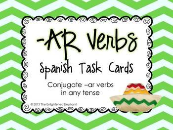 Conjugate -AR verbs (any tense) Spanish Task Cards