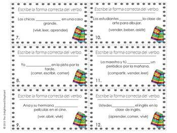 Conjugate -ER, IR verbs (any tense) Spanish Task Cards