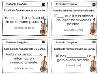 Irregular Preterite Verbs Spanish Task Cards With and Without QR Codes
