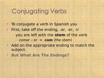Conjugating AR, ER, & IR verbs