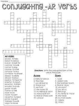 Spanish I Crossword Puzzle- Conjugating AR Verbs