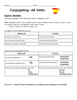 Conjugating -AR Verbs Intro & Exercise