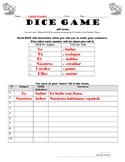 Conjugating AR Verbs Practice in Spanish, Dice Game