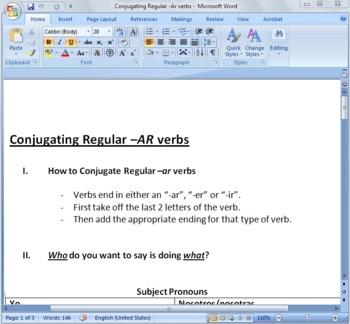Conjugating -AR Verbs in Present Tense Worksheet