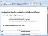 Conjugating -AR Verbs in Preterit Tense Worksheet