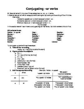 Conjugating AR verbs handout
