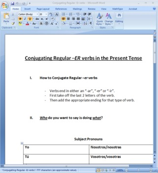 Conjugating -ER Verbs in Present Tense Worksheet