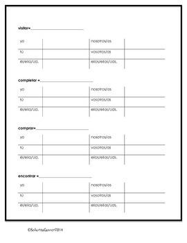 Conjugating Present Tense AR Verbs Worksheet - Spanish