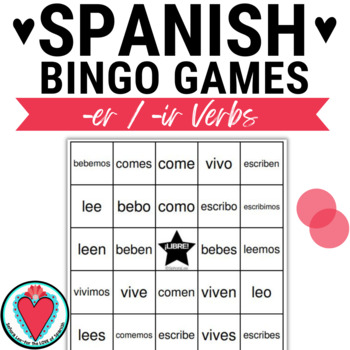 Conjugating Spanish Verbs Bingo - ER, -IR edition