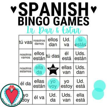 Conjugating Spanish Verbs Bingo - Ir, Dar & Estar edition