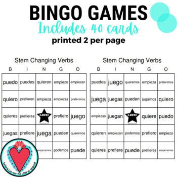 Spanish Bingo - Stem Changing Verbs edition