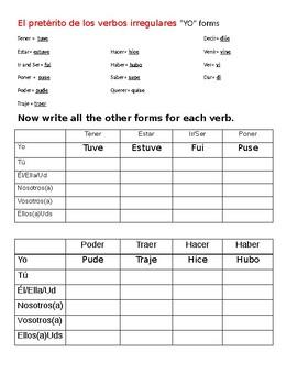 Conjugating irregular verbs in the preterite