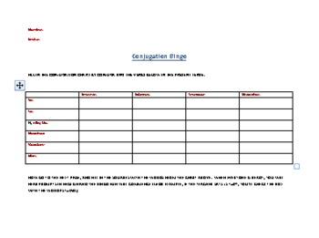 Conjugation Bingo
