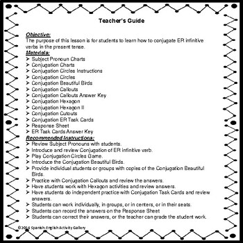Conjugation Interactive Notebook - ER Present Tense
