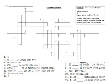Conjugation Crossword Practice