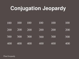 Conjugation Jeopary- READY TO PLAY, EASY TO EDIT - Present Tense