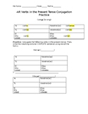 Conjugation Practice of -AR Verbs in the Present Tense