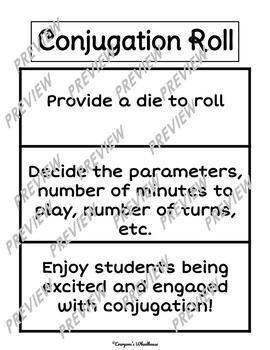 SPANISH Conjugation Roll--Game/Warm up